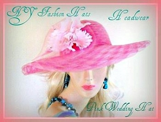 Pink Orchid Flower Wide Brim Dress Hat Ladies Formal Spring Tea Hats