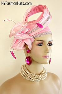 Ladies Soft Hot Pink Satin Designer Fashion Hat With Rhinestones, Wedding Church Dress Hats