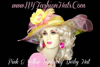 Women's Yellow Pink Designer Dress Hat Kentucky Derby NY Fashion Hats