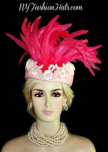 Baby Hot Pink Pillbox Couture Fashion Hat Wedding Church Bridal Hats