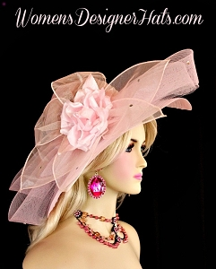Pink Wide Brim Designer Special Occasion Wedding Bridal Hat Derby Hats