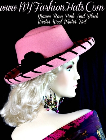 Ladies Mauve Rose Pink Cowboy Western Wool Hat Winter Designer Hats