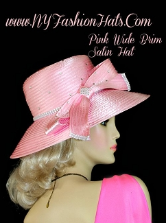 Ladies Pastel Pink Satin Designer Wedding Hat Formal Dress Hats TB0