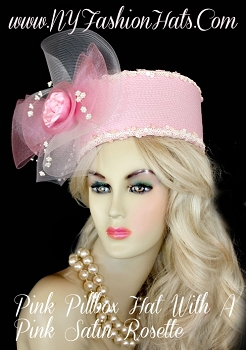 Pink White Pillbox Designer Wedding Hat, Ladies Hats, NY Fashion Hats