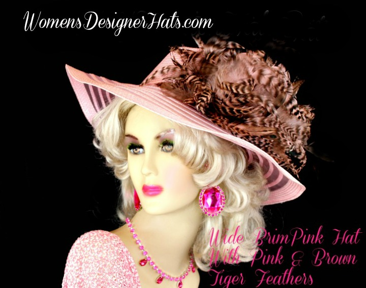 5bbb1f2b423 Women s Pastel Pink Wide Brim Designer Dress Kentucky Derby Hat With  Feathers. This Feminine Dress Hat Is Trimmed With Expensive Pastel Pink And  Brown Tiger ...