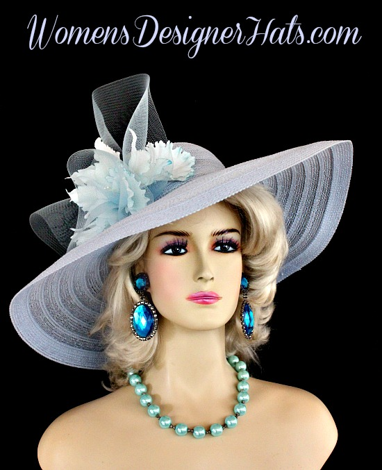 Soft Baby Wedgewood Blue Wide Brim Designer Wedding Kentucky Derby Hat With  Orchids For Women. This Dress Hat Is Adorned With A Large Crinoline Baby  Blue ... 128465bc893