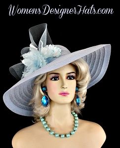 Baby Blue Wide Brim Designer Fashion Wedding Hat Orchids Dress Hats