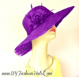 Purple Kentucky Derby Hat, Hats With Roses, Tea Hats For Weddings