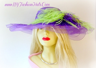 Kentucky Derby Hats, Purple Wide Brim Hat With Lime Green Feathers