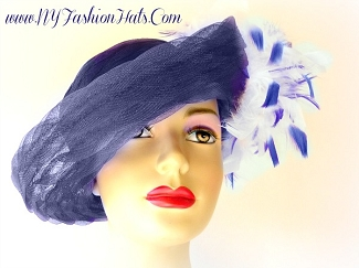 Ladies Navy Blue Church Designer Fashion Hat Kentucky Derby Hats YE33