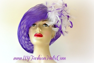 Purple Designer Kentucky Derby Church Dress Hat For Women 44TY7 Hats