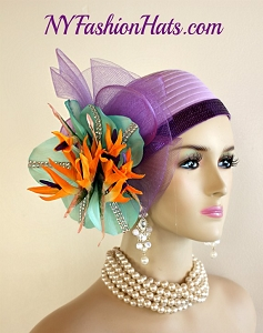 Women's Designer Purple Lavender Aqua Orange Rhinestone Satin  Pillbox Cloche Cocktail Hat Wedding Fascinator, Bird Of Paradise Flowers