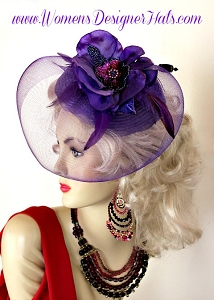1940's Purple Cocktail Hat With Flowers Hat Pin Women's Designer Hats