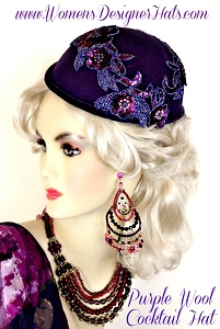 Women's Purple Wool Winter 1920 Flapper Cocktail Hat Headpiece Hats