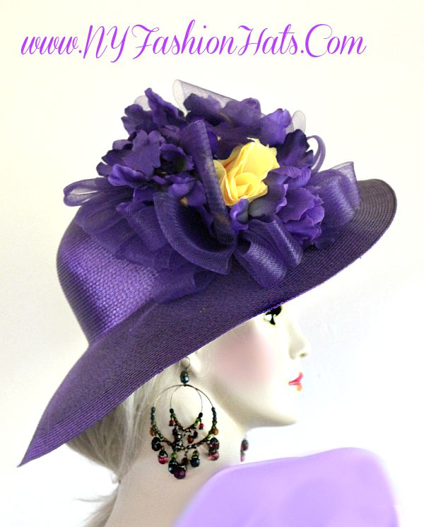 Ladies Purple Wide Brim Designer Hat With Yellow Roses Flowers Hats 8bad093a756