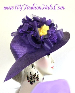 Ladies Purple Wide Brim Designer Hat With Yellow Roses Flowers Hats