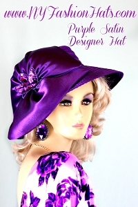 Women's Purple Satin Designer Dress Hat Fashion Wedding Church Hats