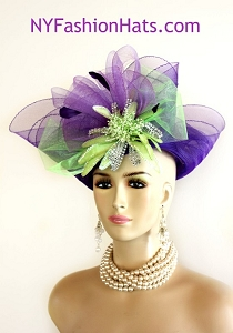 Women's Designer Purple Lime Green Lift Up Wide Brim Kentucky Derby Hat Rhinestones, Wedding Church Custom Dress Hats