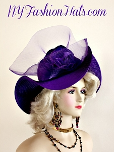 Ladies Purple Wide Brimmed Satin Designer Dress Hat NY Fashion Hats