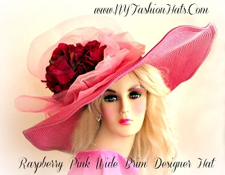 Women's Raspberry Pink Wide Brim Designer Hat Fashion Hats Races UYV