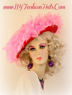 Women's Red Designer Kentucky Derby Hat With Candy Pink Feathers Hats