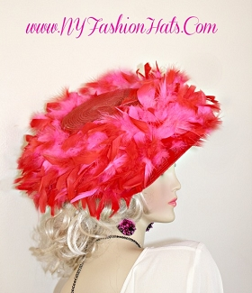 Ladies Red And Hot Pink Designer Kentucky Derby Hat Formal Tea Hats