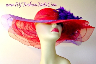Red And Purple Wide Brim Designer Ladies Hat Kentucky Derby Hats Y33