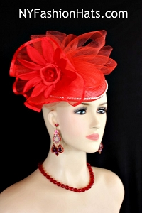 Kentucky Derby Hats, Women's Red Designer Fashion Pillbox Cocktail Hat Wedding Fascinator 23V