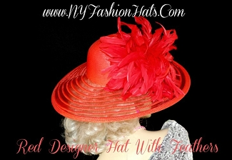 Red Designer Horse Racing Kentucky Derby Formal Hat NY Fashion Hats