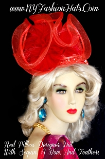 Red Pillbox Church Wedding Kentucky Derby Formal Hat NY Fashion Hats
