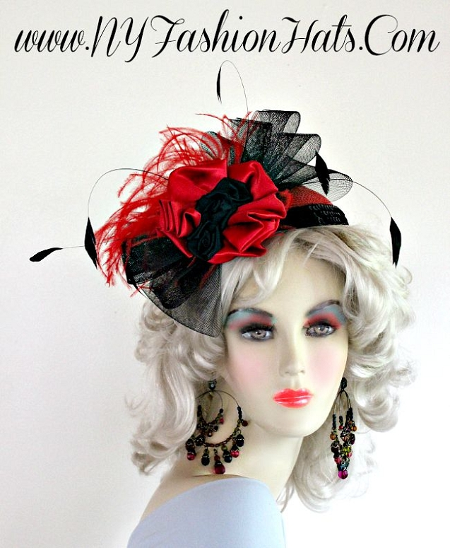 Ladies Black Red Formal Cocktail Wedding Hat Satin Feathers Hats 9e0dd72382c