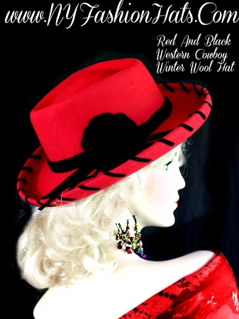 Ladies Red Black Winter Wool Western Designer Hat Cowboy Dress Hats