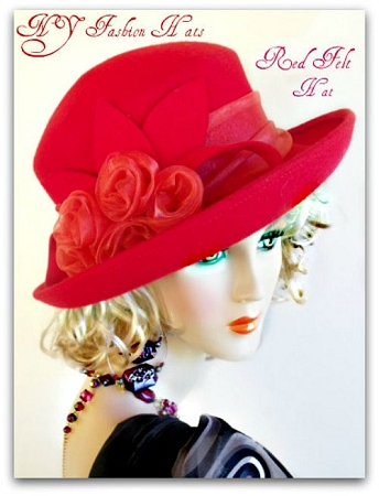 Ladies Red Wool Felt Winter Designer Hat With Organza Roses Dress Hats
