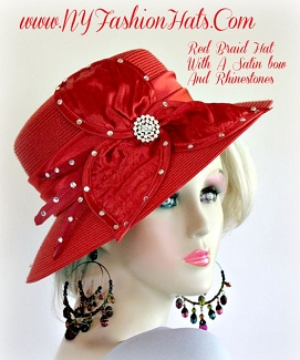 Ladies Red Formal Wedding Hat Women's Church Fashion Designer Hats