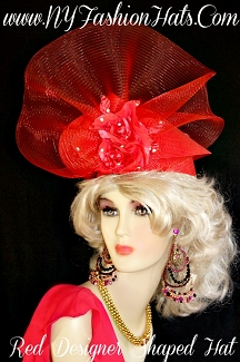 Red Formal Shaped Designer Hat Silk Roses Rhinestones NY Fashion Hats