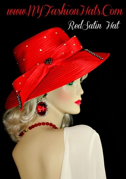 Ladies Red Satin Dress Designer Hat Women's Fashion Wedding Hat 8GUZ