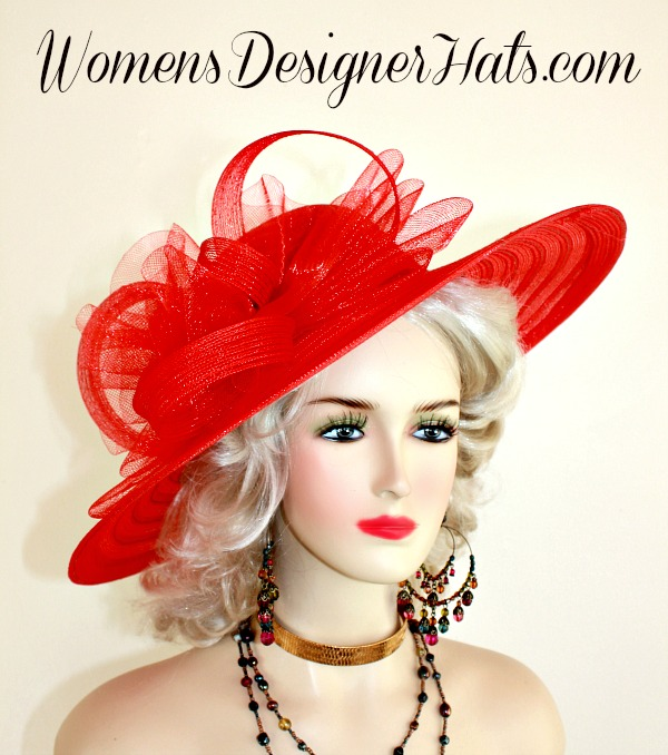 Women s Red Wide Brimmed Fashion Designer Kentucky Derby Hat. This Dress Hat  Is Embellished With A Crinoline Bow 15096ef140f