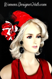 Hat Pillbox Red Black White Flapper Art Deco Women's Designer Hats