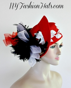 Red Pillbox White Sequin Black Feather Designer Fashion Hat Woman Hats