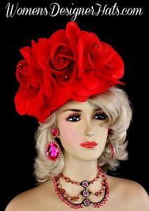 Ladies Red Sinamay Straw Silk Roses Pillbox Cocktail Hat Designer Hats