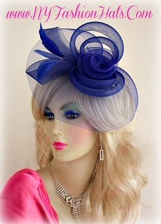 Ladies Royal Blue Red Baby Blue White Wedding Church Cocktail Hat 331