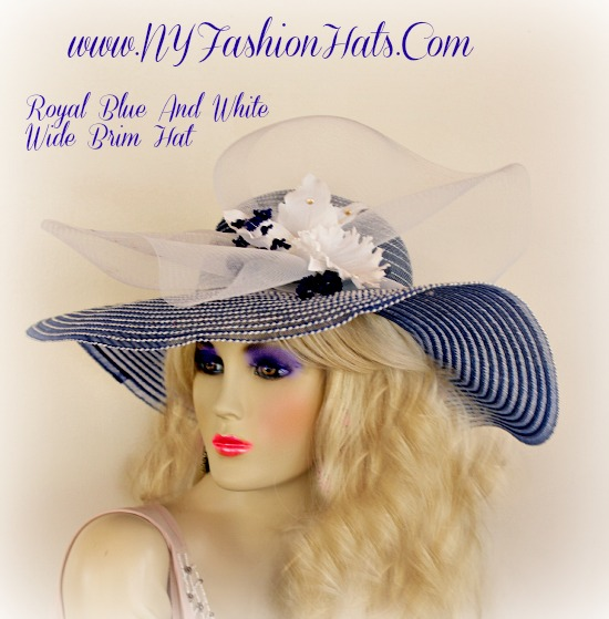 Royal Blue And White Wide Brim Designer Hat With Flowers Ladies Hats 2129a2878eb