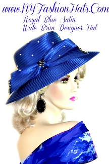 Ladies Royal Blue Dress Designer Satin Hat Wedding Holiday Hats 1Q0