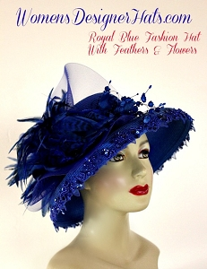 Royal Blue Fashion Kentucky Derby Hat, Women's Designer Hats A990