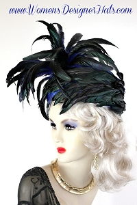 Royal Blue Pillbox Designer Hat With Iridescence Green Black Feathers