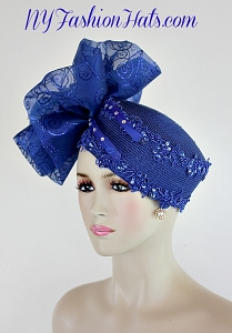 Royal Blue Pillbox Cocktail Hat Wedding Headpiece Formal Church Hat