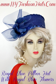 Royal Blue Designer Pillbox Church Wedding Hat, NY Fashion Hats