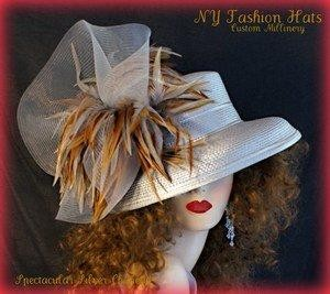 Silver Grey Designer Hat With Brown Grey Beige Tan Feathers  2JWP