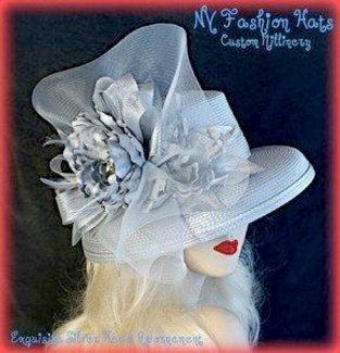 Silver Grey Fashion Designer Dressy Formal Wedding Woman's Hat 8JYK