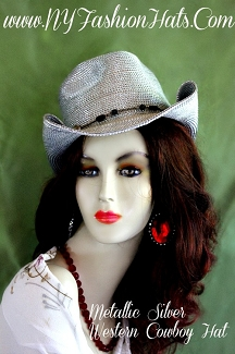 Ladies Metallic Silver Designer Western Cowboy Dress Hat Casual Hats RMA